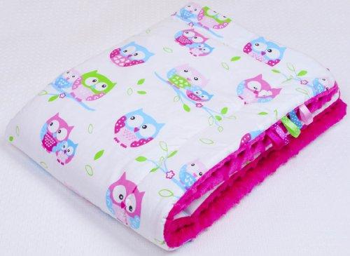 Amilian® Kuschlige Babydecke FLAUSCHIG Decke Kinderdecke Babydecke 75x100 Kuscheldecke Eule weiss/rosa