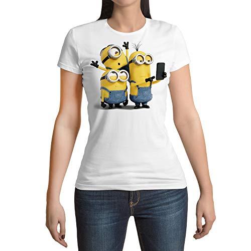 Camiseta Mujer Dibujos Animación, Minions Selfie (Blanco, XXL)