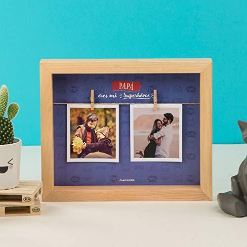Hanselhome Marco de Foto con Pinza Y Frase 3D con Profundidad Caja Madera Portafotos Regalo para Familias Y Amigos - Papá, Eres Mi Superhéroe