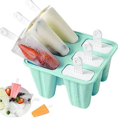 Popsicle Mould,Popsicle Molds 6 Pieces Silicone Ice Pop Molds BPA Free Popsicle Mold Reusable Easy Release Ice Pop Make (Green)