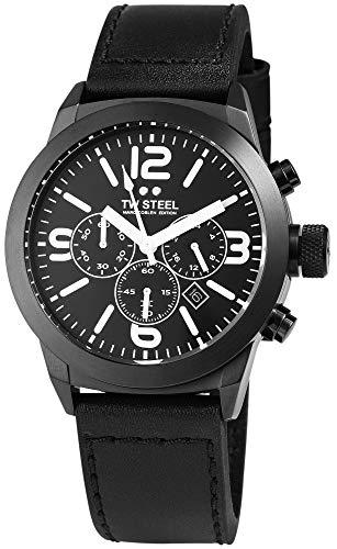 TW Steel Herrenuhr Schwarz Analog Chronograph Datum Edelstahl Echt-Leder Quarz Armbanduhr