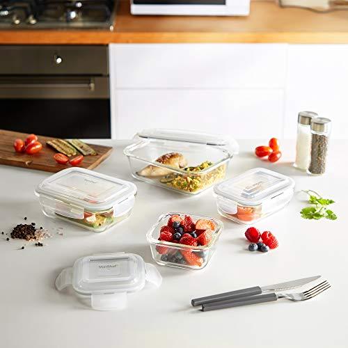 VonShef Set de 12 Recipientes Herméticos de Vidrio para Alimentos ...