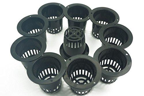 Lote de 10 cestas de plástico redondas de malla acuática para macetas de resina de agua, plantas de jardín, estanques, macetas de decoración de 4,4 cm y 3,5 cm