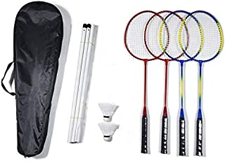 Elite Badminton Rackets 4 Pack, Badminton Set, 4 Nylon Rackets, 4 Player Sport Badminton Nets, 2 Badminton Birdies/Balls Sports Portable Outdoor Indoor Beach Game for Adults Kids