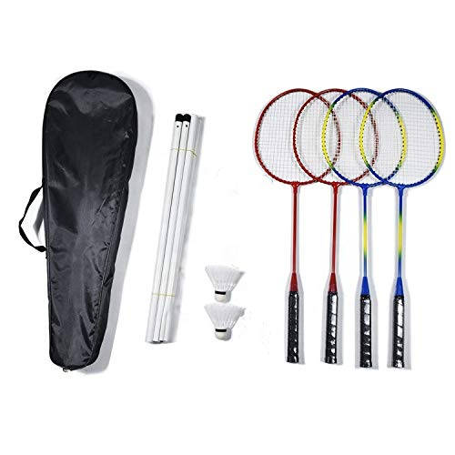 Elite Badminton Rackets 4 Pack Badminton Set 4 Nylon Rackets 4 Player Sport Badminton Nets 2 Badminton Birdies/Balls Sports Portable Outdoor Indoor Beach Game for Adults Kids Red  Blue w/Yellow