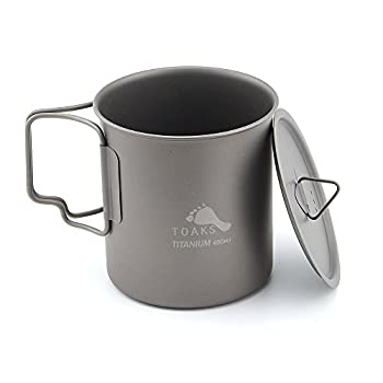 TOAKS Tasse/Pot de Camping Portable Ultraléger en Titane (450ml with Lid[CUP-450-C])