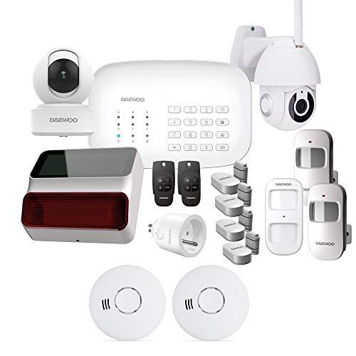DAEWOO Alarmanlage WiFi/GSM – Modell Ultimate+ Lieferung mit 14 Zubehörteilen, 2 Kameras und 1 Sirene