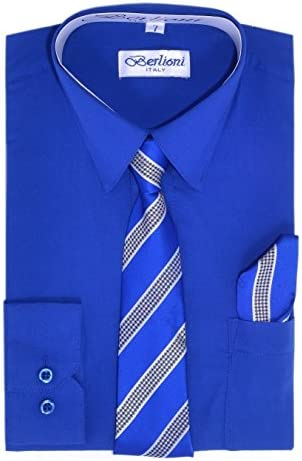 Paragon Stores Boy s Dress Shirt Necktie and Hanky Set Royal Blue Size 8 product image