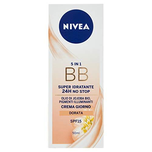 NIVEA Essentials BB Cream Super Idratante 24H Uniformante, Crema Giorno Viso SPF 15, Colore Dorato, 50 ml