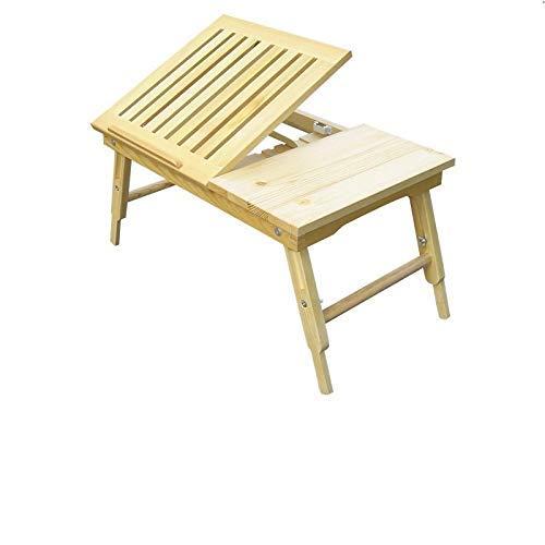 DPPD Laptop Tisch Multifunktionaler Massivholz Lazy Tisch Faltbares Aufbewahrungsbett Faltbar Langlebig Russische Scotch Pine Faltbarer Laptop Computertisch, WoodColor