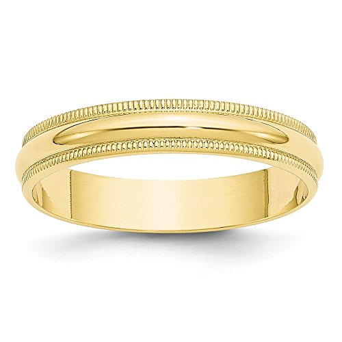 10k Yellow Gold 4mm Milgrain Half Round Wedding Ring Band Size 8.5 Classic Fine Jewelry For Women Gifts For Her