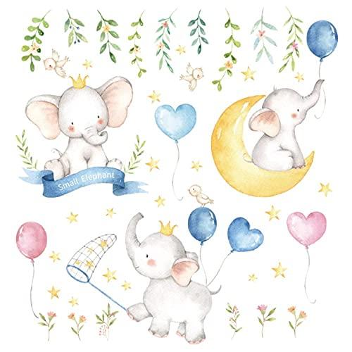 KBIASD Dibujos animados pequeños elefantes globo luna pegatinas de pared estilo de pintura para sala de estar habitación de niños calcomanía de pared bebé guardería decoración de pared regalo 92x89cm