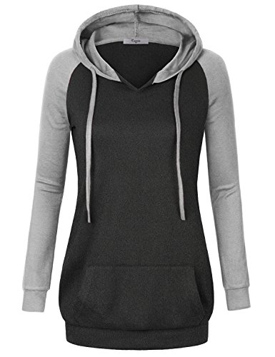Tunic Hoodie,Cestyle Women's Fall Clothes Ladies Classic Basic Raglan Sleeve V Neck Patchwork Light Sweater Pullover Athletic Hooded Sweatshirt Dress Office Casual Long Shirts for Leggings Grey Large
