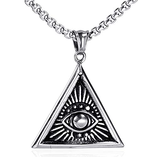 UMtrade Hip Hop Stainless Steel Mens Eye of God Triangle Pendant Masonic Necklace