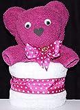 Dekoartikel als Handtuchfigur'Teddybär pink mit Handtuch weiß'