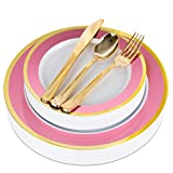 Pink and Gold Rim Plastic Dinnerware (125-Piece) Plastic Plates, Plastic Forks, Plastic Knives, Plastic Spoons - Service for 25 Guests Place Setting for Wedding, Party, Baby Shower, Birthday, Holiday