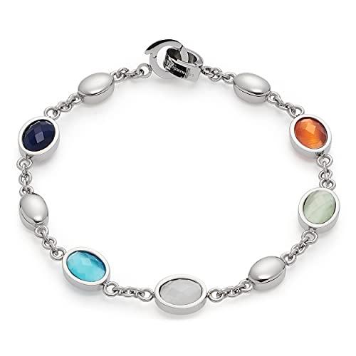 Leonardo 021369 Damen Armband Romi Clip&Mix Edelstahl Silber Glas 18 cm