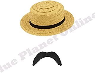 5d783acb79fea8 Blue Planet Online - Mens 1920s 20s Victorian Bathing Straw Boater Hat &  Black Tash Fancy