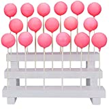 Cake Pop Stand Display Riser - 3 Tier Wood Lollipop Holder, 17 Hole Sucker Stand for Wedding, Birthday Party - White, Collapsible, Fit 5/32' (4mm) Lollipop Sticks