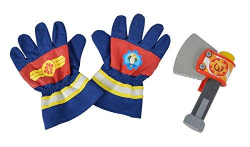 Simba 109252105 - Feuerwehrmann Sam Feuerwehr Handschuhe und Axt / Ein Paar Handschuhe aus Textil / 20x14cm / Axt 15x10cm