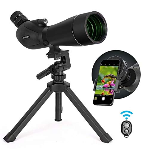 Gosky HD Spotting Scope 20-60x 80mm with Tripod and Smartphone Adapter, BAK 4 Prism Spotter Scopes for Bird Watching Target Shooting Hunting Wildlife Scenery