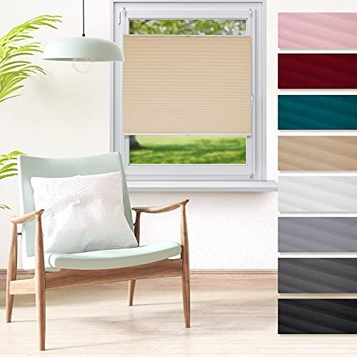 ECD Germany Plissee 90 x 150 cm - Creme - Klemmfix - EasyFix - ohne Bohren - Sonnen- und Sichtschutz - für Fenster und Tür - inkl. Befestigungsmaterial - Jalousie Faltrollo Fensterrollo Rollo