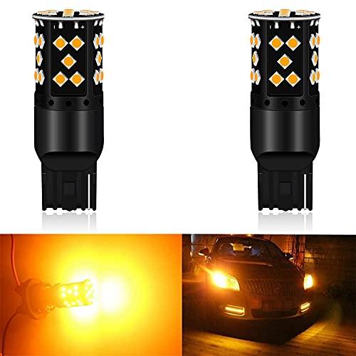 2 7440 T20 Código de error de no polaridad ámbar/amarillo canbus libre LED Rotar Luz de señal intermitente Bombilla - Fijación para resistencias de carga para bombilla LED rápida Flash hiperac