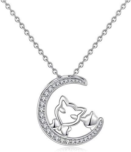 OlovdHit Collar 925 Cadena De Señoras De Plata Lindo Gato Luna con Diamantes Colgante Collar Largo De Plata Aniversario De San Valentín