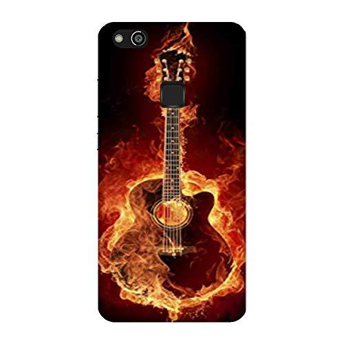 Funda Carcasa Compatible con Huawei P10 Lite Música Guitarra de Fuego/Imprimir también en los Lados. / Teléfono Hard Snap en Antideslizante Anti-Rayado Resistente a los Golpes rígido