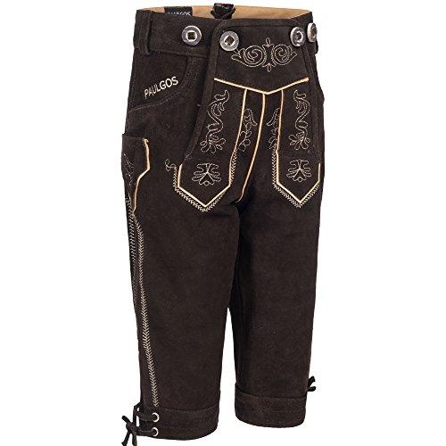 PAULGOS Kinder Trachten Lederhose + Träger, Echtes Leder, Kniebund in 2 Farben Gr. 86-164, Farbe:Dunkelbraun, Kindergröße:110