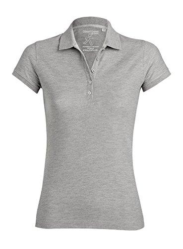 Damen Poloshirt aus 95% Biobaumwolle und 5% Elastan, Poloshirt Damen Baumwolle (Bio), Damen Polo-Piqué Bio, Polo Shirts Bio, Damen Polohemd Bio (XL, Heather Grey)