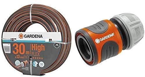 GARDENA Comfort HighFLEX Schlauch 13mm, 30 m: Gartenschlauch mit Power-Grip-Profil, 30 bar Berstdruck & Schlauchverbinder-Satz 13 mm und 15 mm: Steckverbinder für den Schlauchanfang