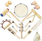 Ulifeme 23 Stück Musikinstrumente Set, Musical Instruments Holz Percussion Set für Kinder, Baby und Kleinkinder, Reines Holz Musikinstrumente Spielzeug, Musik Rhythmus Set Verpackt in Baumwolltasche