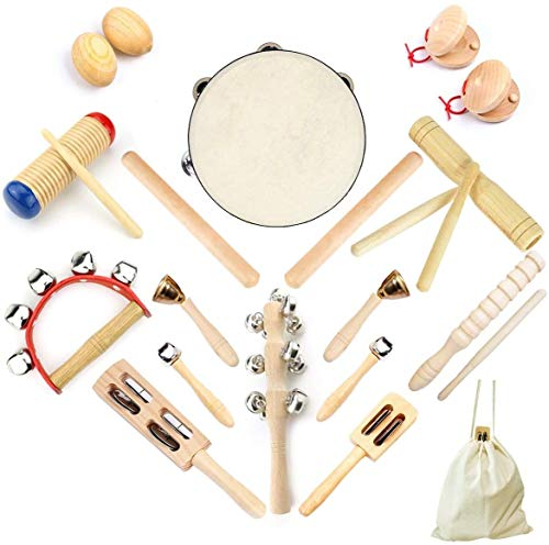 Ulifeme Instrumentos Musicales para Infantil, Niños y Bebe, 23pcs Instrumentos Musicales Madera, Madera 100% Puro de Juguete Musical Bebe Set, Kit de Ritmo de Percusión Premium + Una Bolsa de Algodón