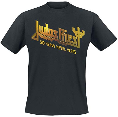 Judas Priest 50 Years Anniversary 2020 Hombre Camiseta Negro L, 100% algodón, Regular