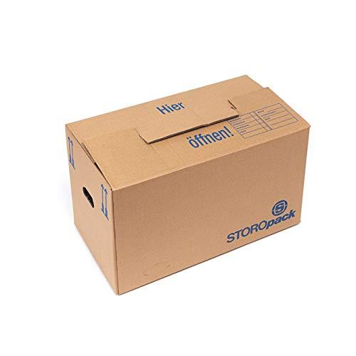 Storopack – 10 Umzugskartons á 84 Liter, 2-welliger Pappkarton, 600x350x370mm, besonders stabil, doppelter Boden, hohe Tragkraft, stapelbar - Gr. L