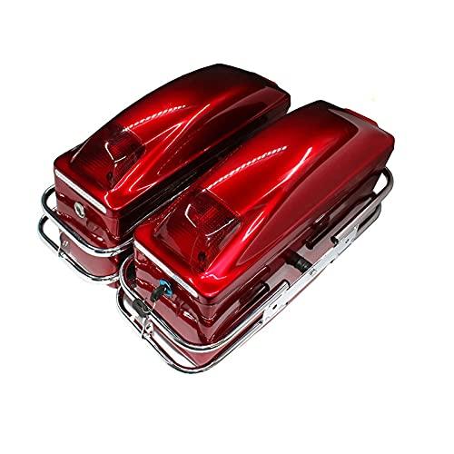 24L Universal Motocicleta Caja de herramientas lateral Tanque de equipaje Bolsa de herramientas trasera Estuche rígido Bolsas de sillín Baúl lateral con luz trasera Sillín rígido Bolsa (Color:Red