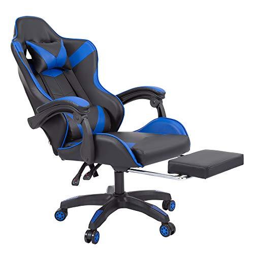 Z ZELUS Chaise Gaming, Fauteuil Gamer, Chaise Ergonomique Inclinable pour Jeux PC, Fauteuil de Bureau Racing avec Appui-Tête Support Lombaire Repose-Pieds (Bleu)