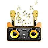 YAHILL Máquina de Karaoke Bluetooth Recargable con 2 Micrófonos Inalámbricos para Niños y Adultos Sistema de Altavoces de Karaoke Portátil Compatible con Android e iOS para el Home KTV/Fiestas - Negro
