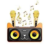 YAHILL Macchina per Karaoke Ricaricabile Bluetooth | Kit Karaoke con 2 Microfoni Senza Fili per Bambini e Adulti | Sistema di Altoparlanti Bluetooth Portatili Karaoke, Compatibile Android e iOS - Nero