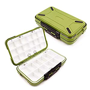 YUKI Fishing Lure Boxes, Bait Storage Case Fishing Tackle Storage Trays Accessory Boxes Thicker Plastic Hooks Organizer Containers for Vest Casting Fly Fishing - Waterproof Seal (Green, Large)