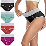 wirarpa Women's Soft Cotton Briefs Underwear Breathable High Waist Underpants Full Coverage Colorful Ladies Panties 4 Pack (L Size)