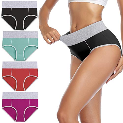 wirarpa Unterhosen Damen Unterwäsche Baumwolle Taillenslip Hohe Taille Slips 4er Pack Größe M