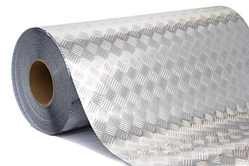 Industrial Utility Diamond Plate Metallic Chrome Finish Vinyl Wrap Underlayer Sheet Adhesive Roll for Shelves Walls Flooring (17.8 inches x 15ft)