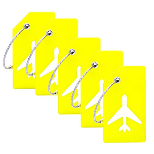 5Pack Silicone Luggage Tag With Name ID Card Perfect to Quickly Spot Luggage Suitcase By CPACC (Yellow)