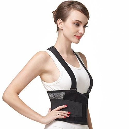 Faja para la espalda con tirantes, apoyo lumbar, cinturón de culturismo/halterofilia, entrenamiento, seguridad en el trabajo y postura - Marca Neotech Care (Talla L) ⭐