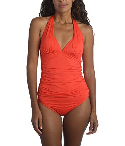 La Blanca Women's Standard Island Goddess Rouched Front Halter Tankini Swimsuit Top, Paprika, 38F