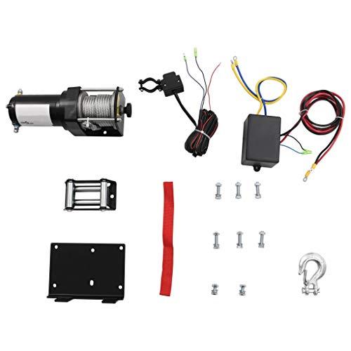 vidaXL 12 V Cabrestante Eléctrico 1.360 KG Placa de Montaje Guiacabos de Rodillo Control Remoto de Cable