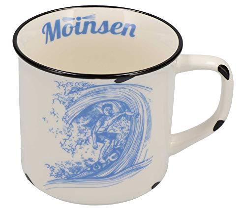 Tony Brown Maritime Porzellan Kaffeebecher mit Sprüchen und Motiven von Nordsee und Ostsee (500ml, Weiß)
