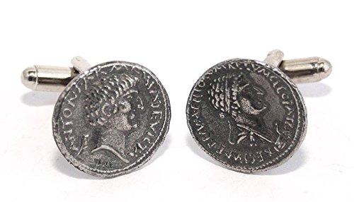 Boutons de Manchette Anthony et Cleopatra (pièce de monnaie) avec Boîte à Cadeau